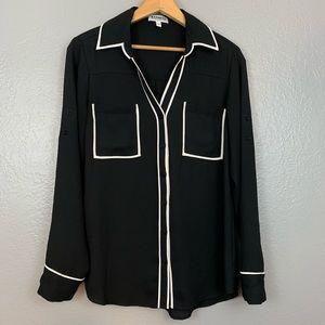 Express The Portofino Shirt White Trim Blouse